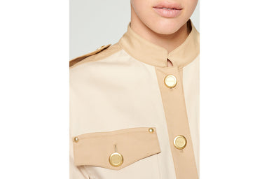 Two-Tone Cotton Belted Jacket - ESCADA