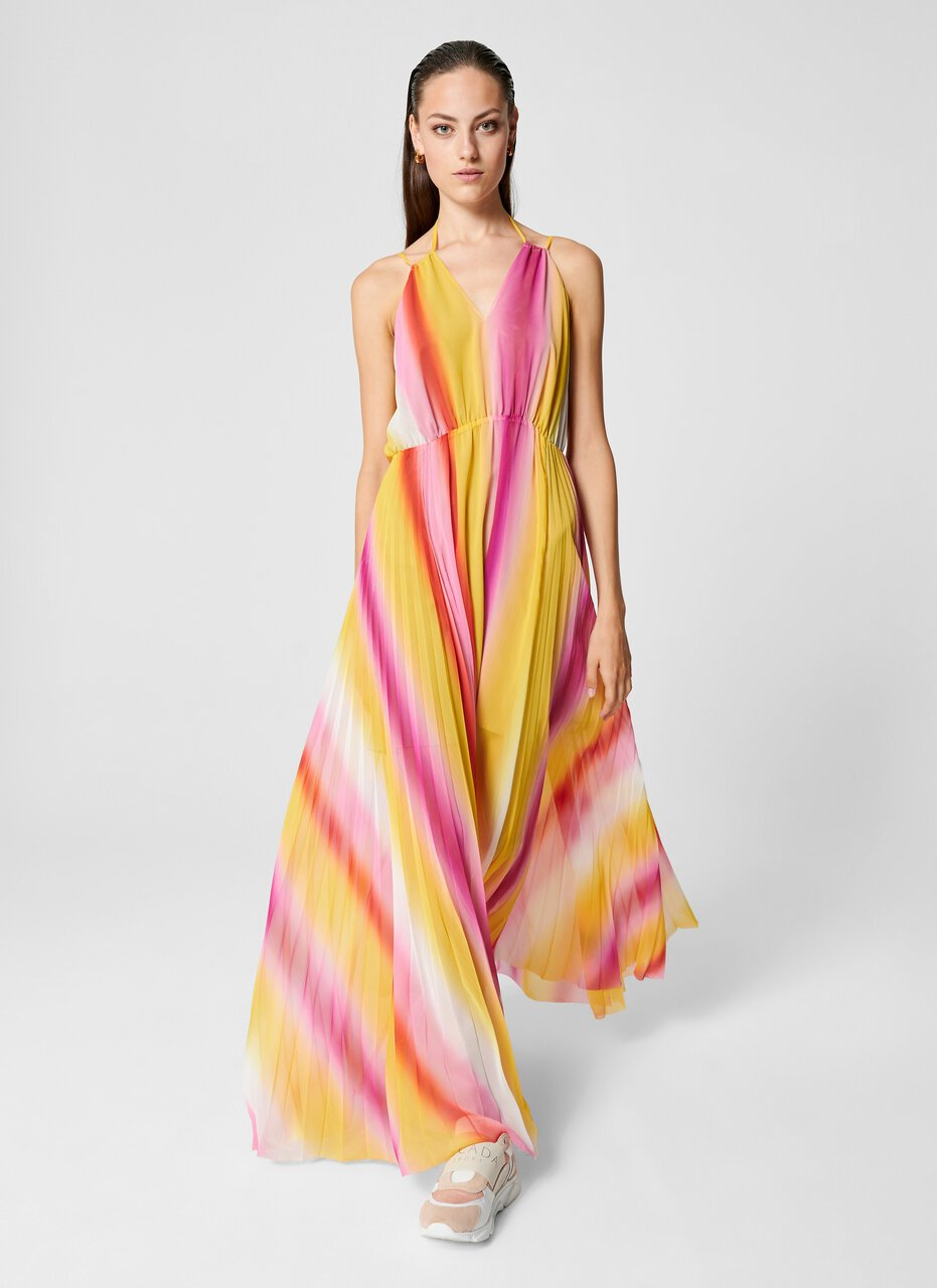 ESCADA Multicolor Plissé Maxi Dress
