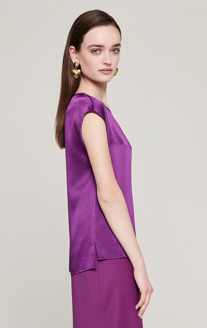 ESCADA Silk Satin Cap-Sleeve Top