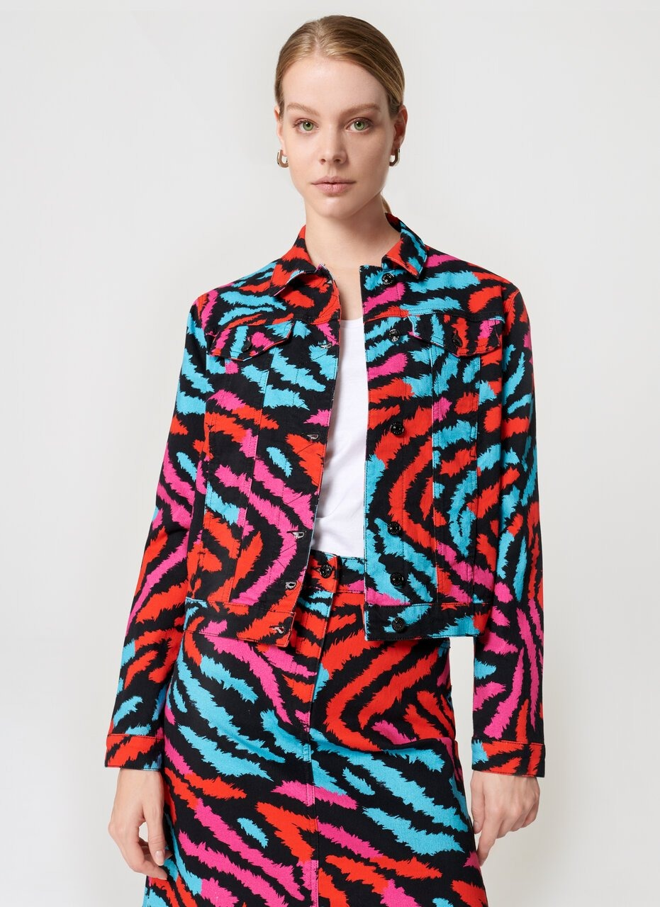 Zebra Print Denim Jacket - ESCADA