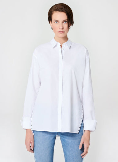 Cotton Poplin Rhinestones Blouse - ESCADA