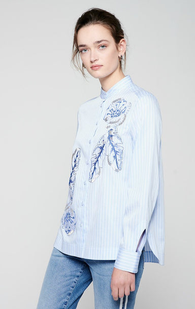 Embroidered Pinstripe Shirt - ESCADA