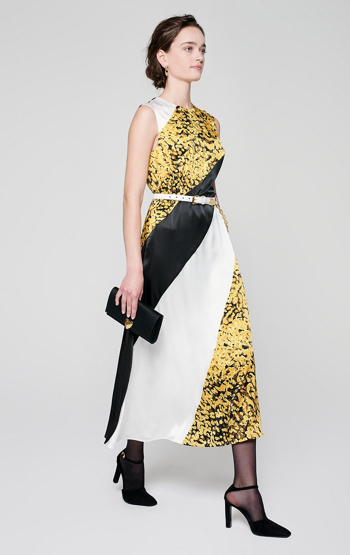Printed Silk Paneled Dress