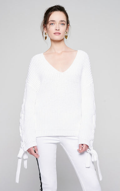 Cotton Tie-Sleeve Sweater - ESCADA