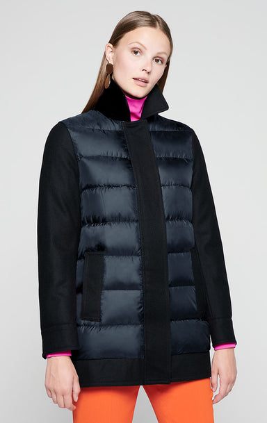 Material Mix Quilted Down Coat - ESCADA