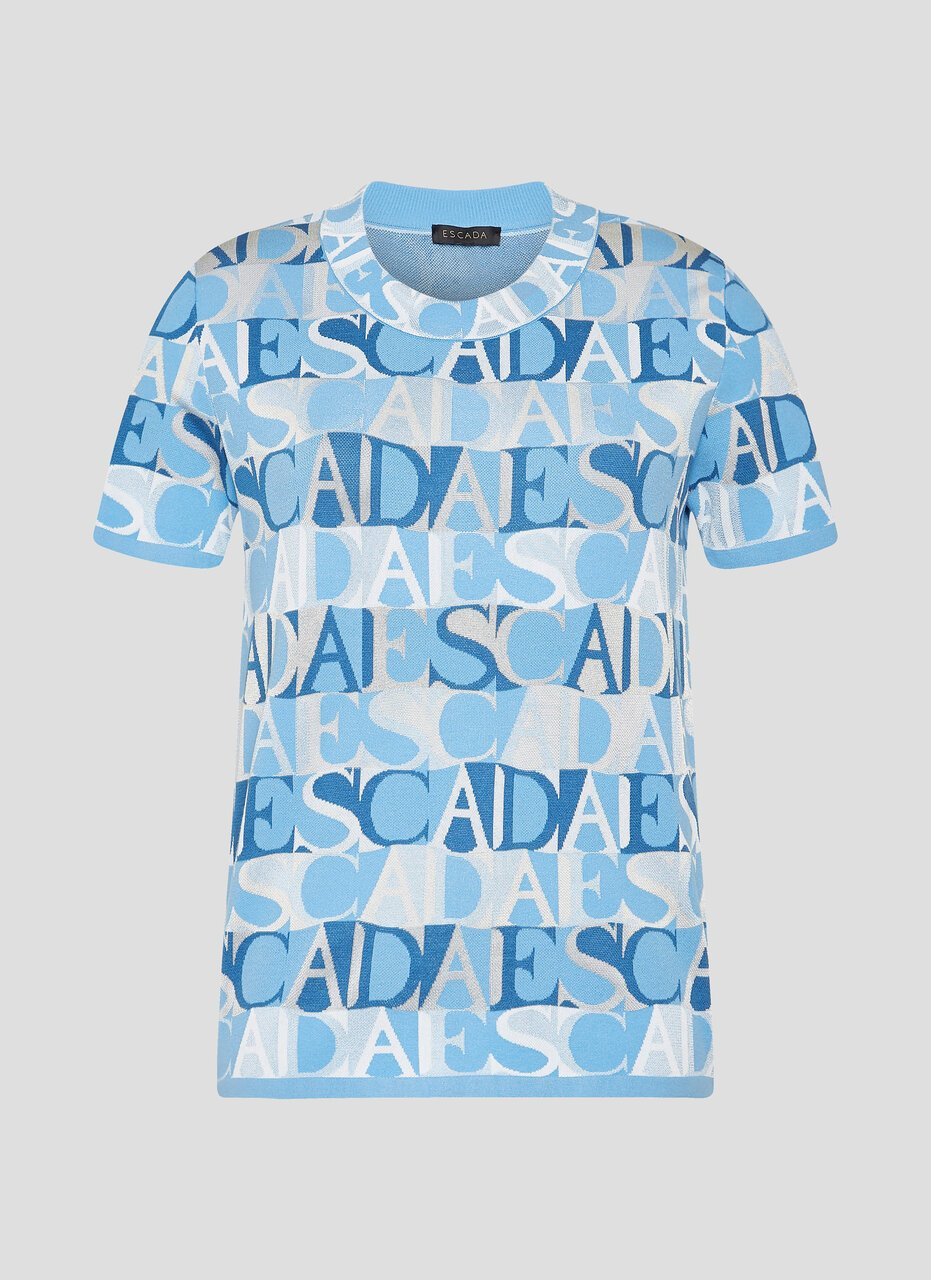 ESCADA Logo Jacquard Short-Sleeve Sweater