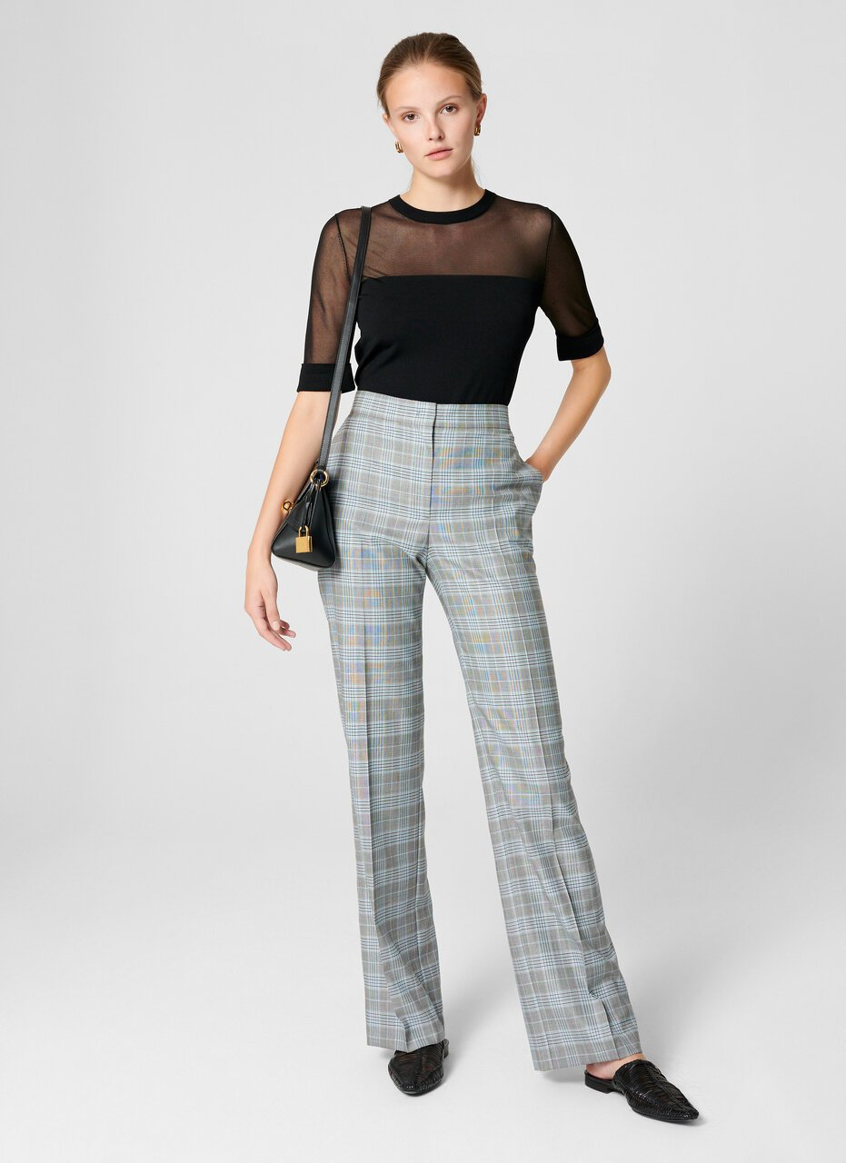 Wool Silk Check Pants - ESCADA
