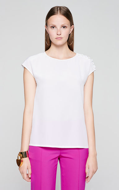 Silk Button-Detail Top - ESCADA