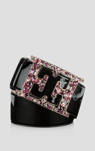 Leather Crystal Monogram Belt - ESCADA