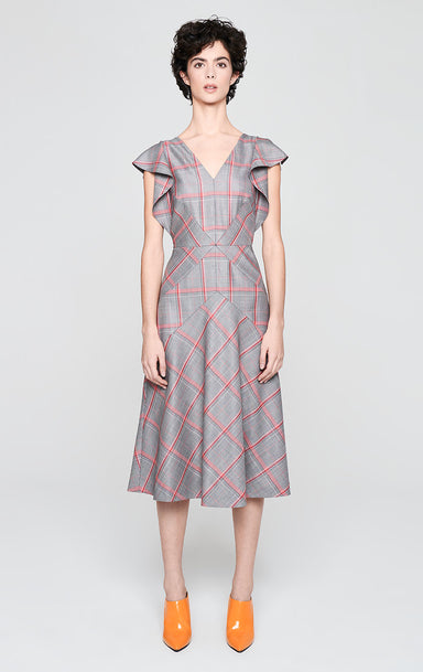 ESCADA Wool Check Ruffle Dress