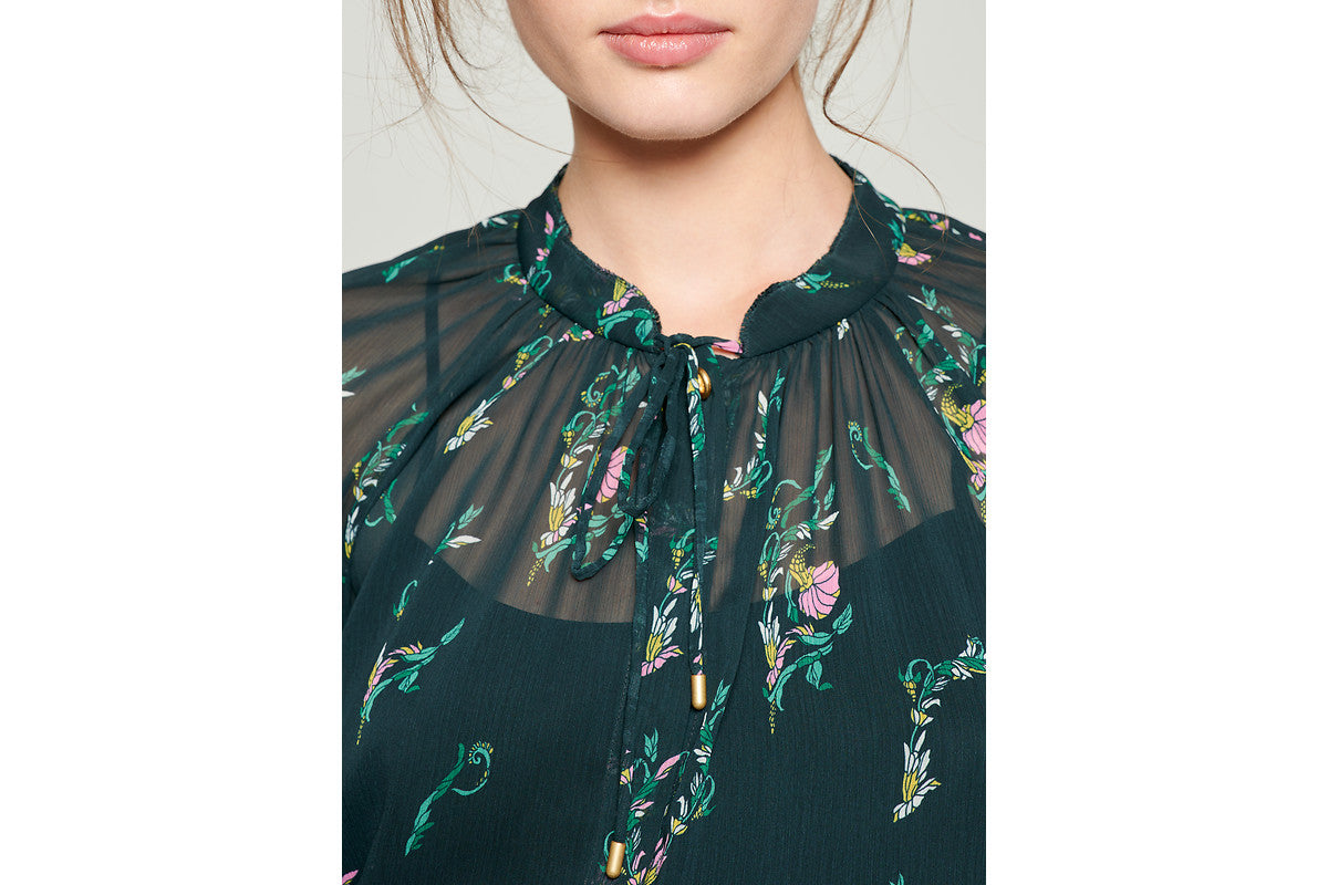 ESCADA Printed Chiffon Tie-Neck Blouse