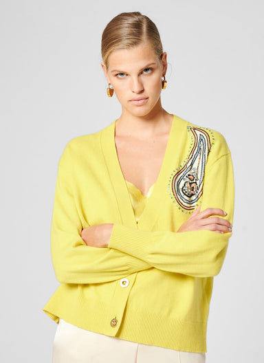 ESCADA Cashmere Cotton Embroidered Cardigan