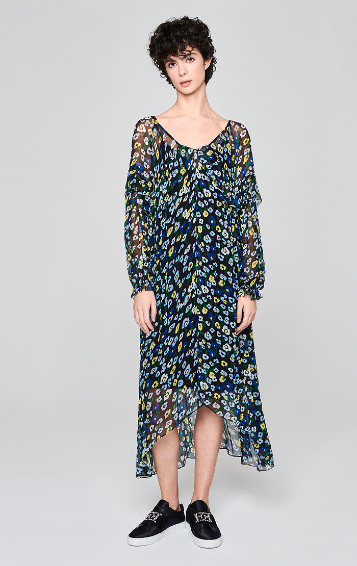 ESCADA Printed Chiffon Volant Dress