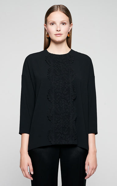 ESCADA Crepe and Lace Tunic Top