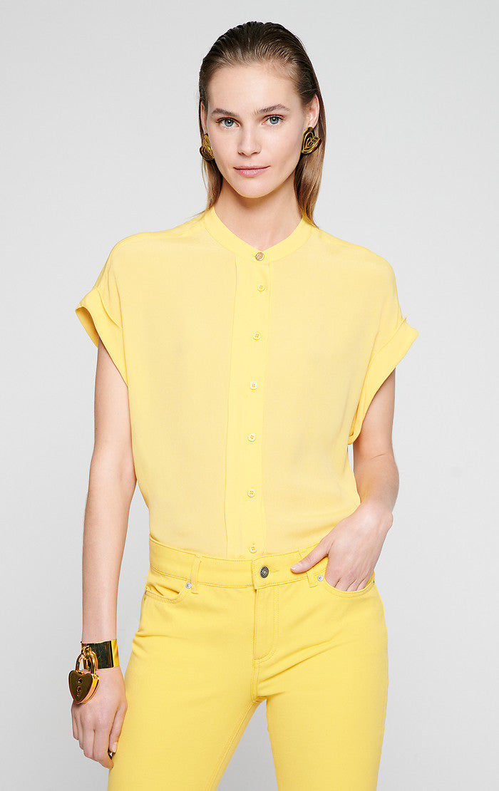 ESCADA Silk Blend Cap-Sleeve Blouse