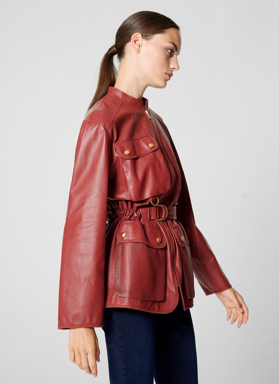 Leather Belted Jacket - ESCADA