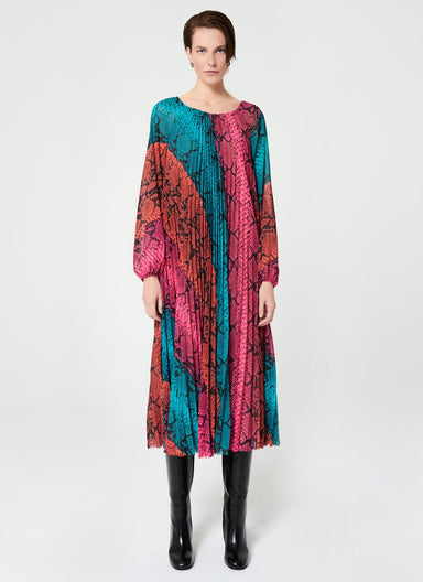 ESCADA Multicolor Plissee Maxi Dress