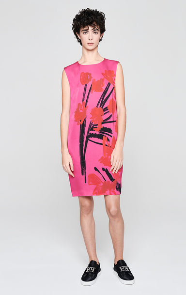 ESCADA Satin Crepe Printed Dress