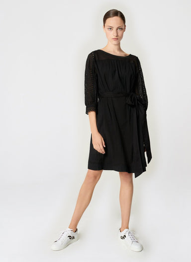 Cotton Broderie Belted Dress - ESCADA
