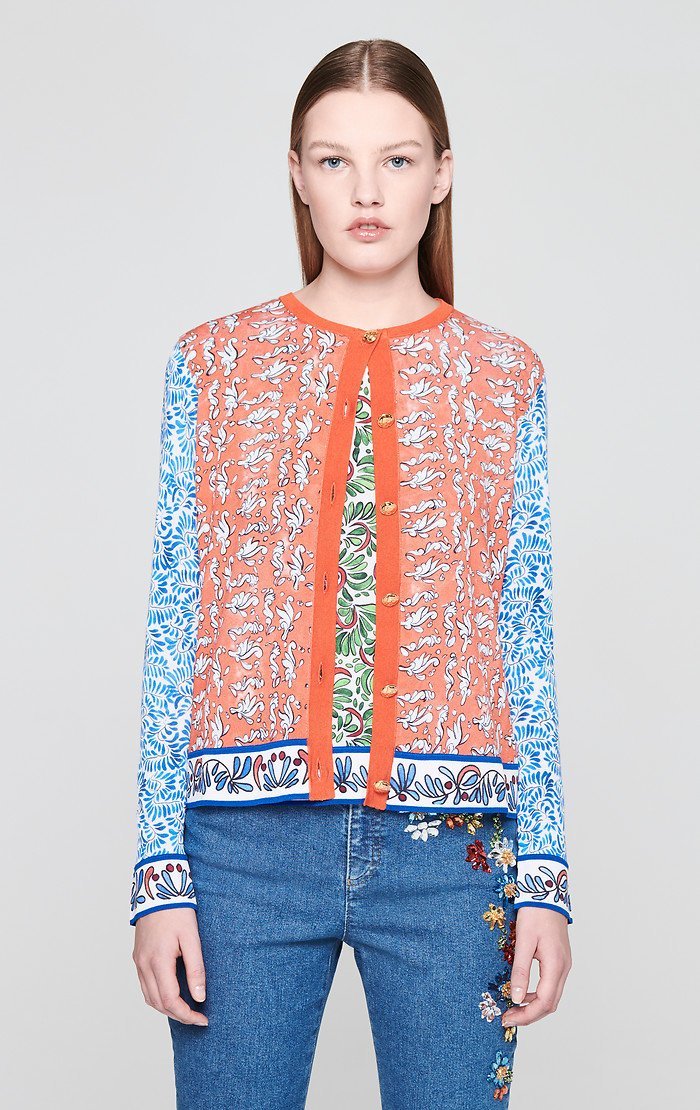 ESCADA Cotton Blend Printed Cardigan
