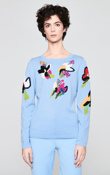 ESCADA Crystal-Embellished Floral Sweater