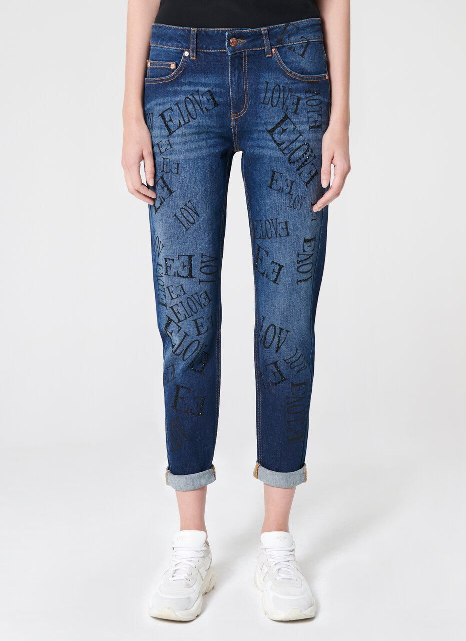 ESCADA All Over Logo Printed Boyfriend