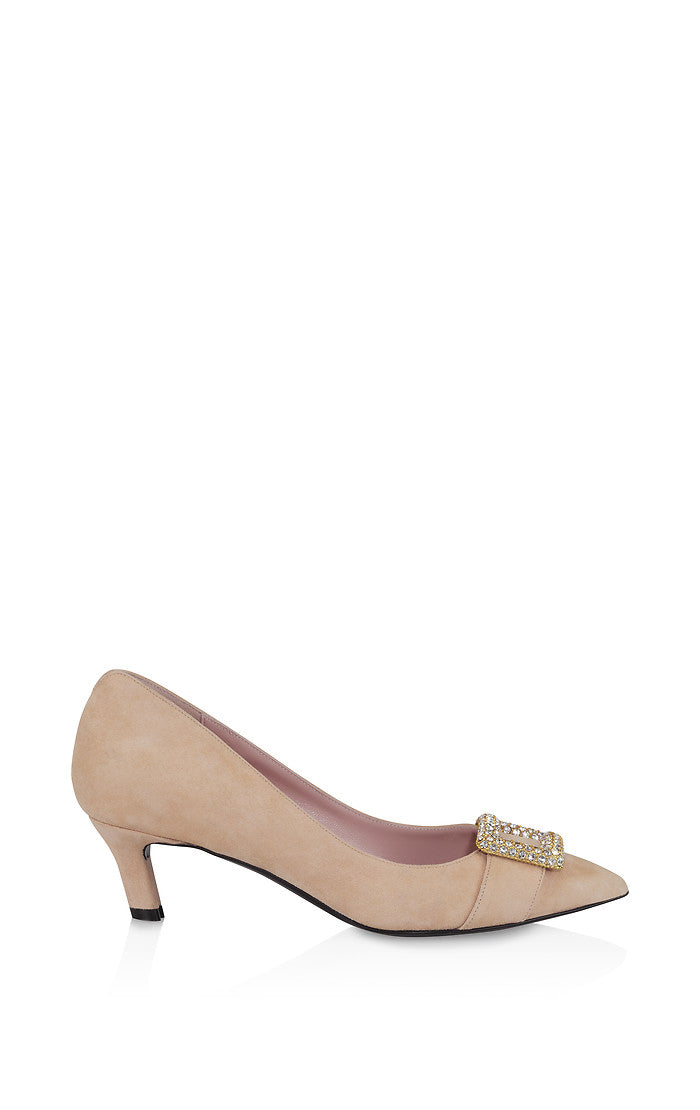 ESCADA Suede Embellished Kitten Heel Pumps