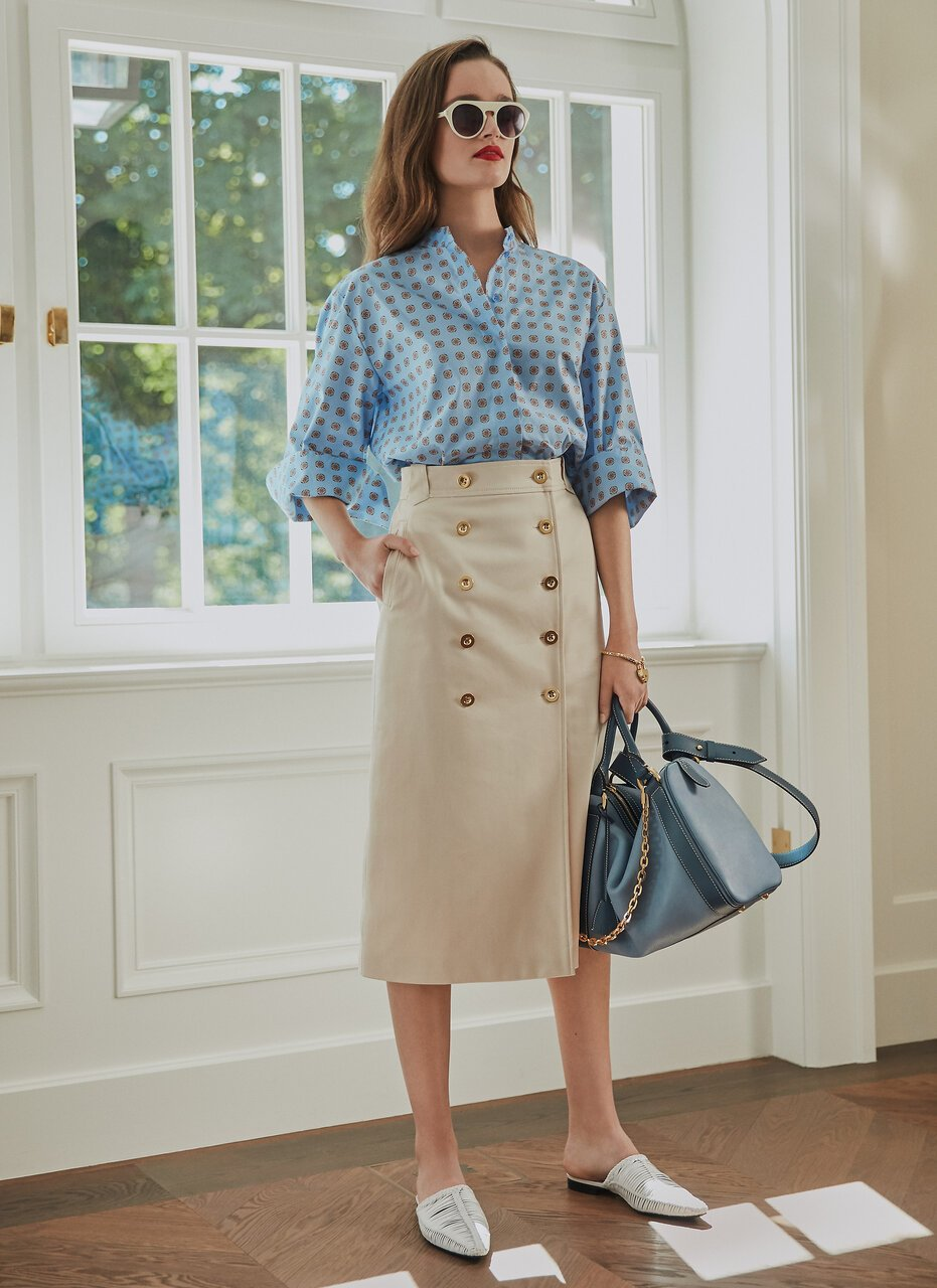 Cotton Gabardine Buttoned Skirt - ESCADA