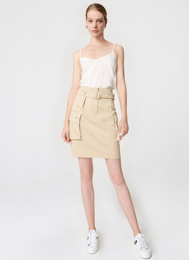 Cotton Belted Mini Skirt - ESCADA