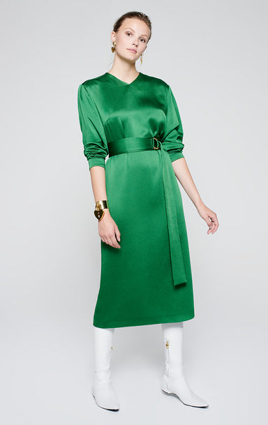 Satin Belted Midi Dress - ESCADA