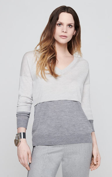 ESCADA Color Block V-Neck Sweater