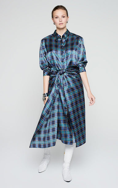 ESCADA Silk Satin Check Dress