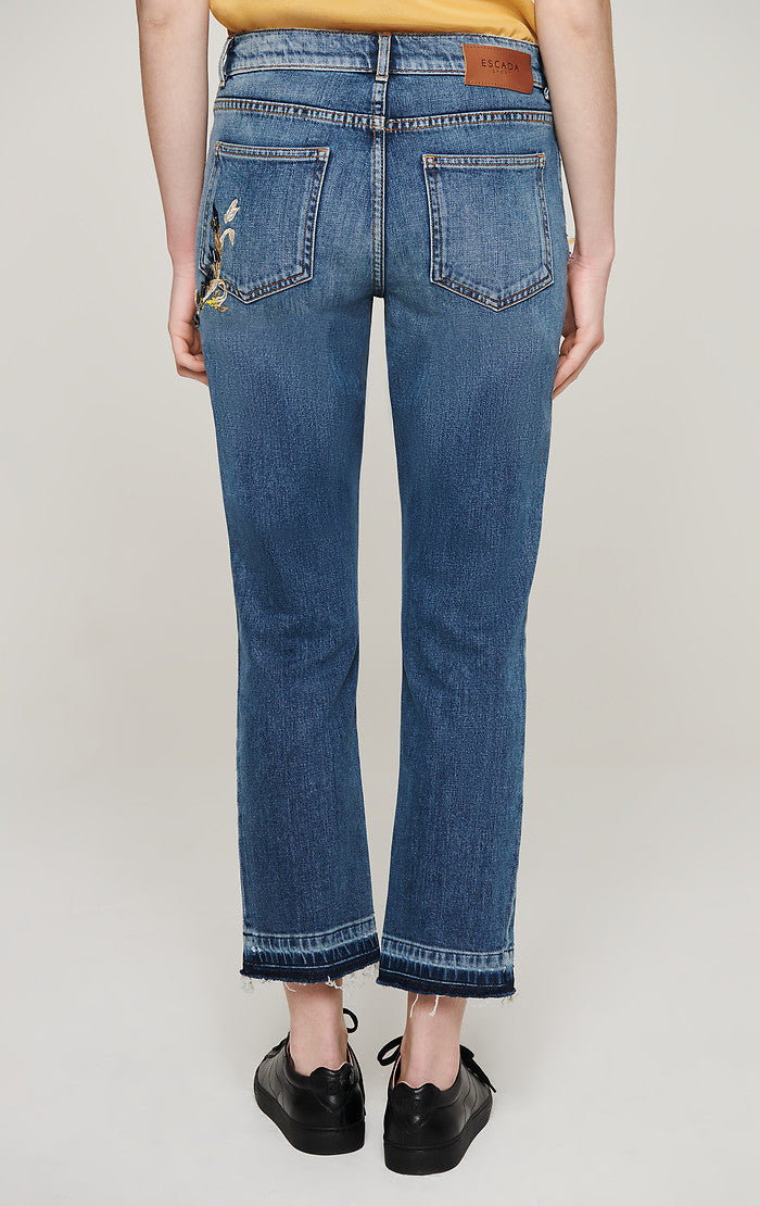 ESCADA Floral Embroidered Jeans