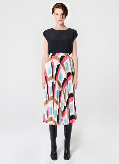 ESCADA Graphic printed plissée skirt