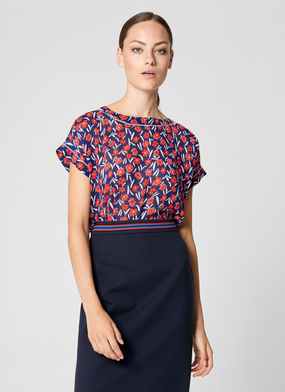 ESCADA Floral Cap-Sleeve Top