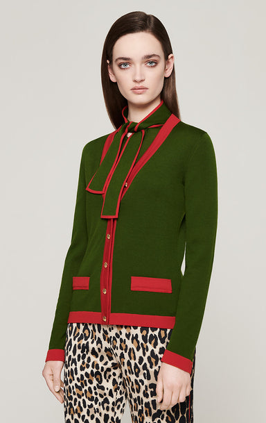 ESCADA Wool Contrast Trim Cardigan