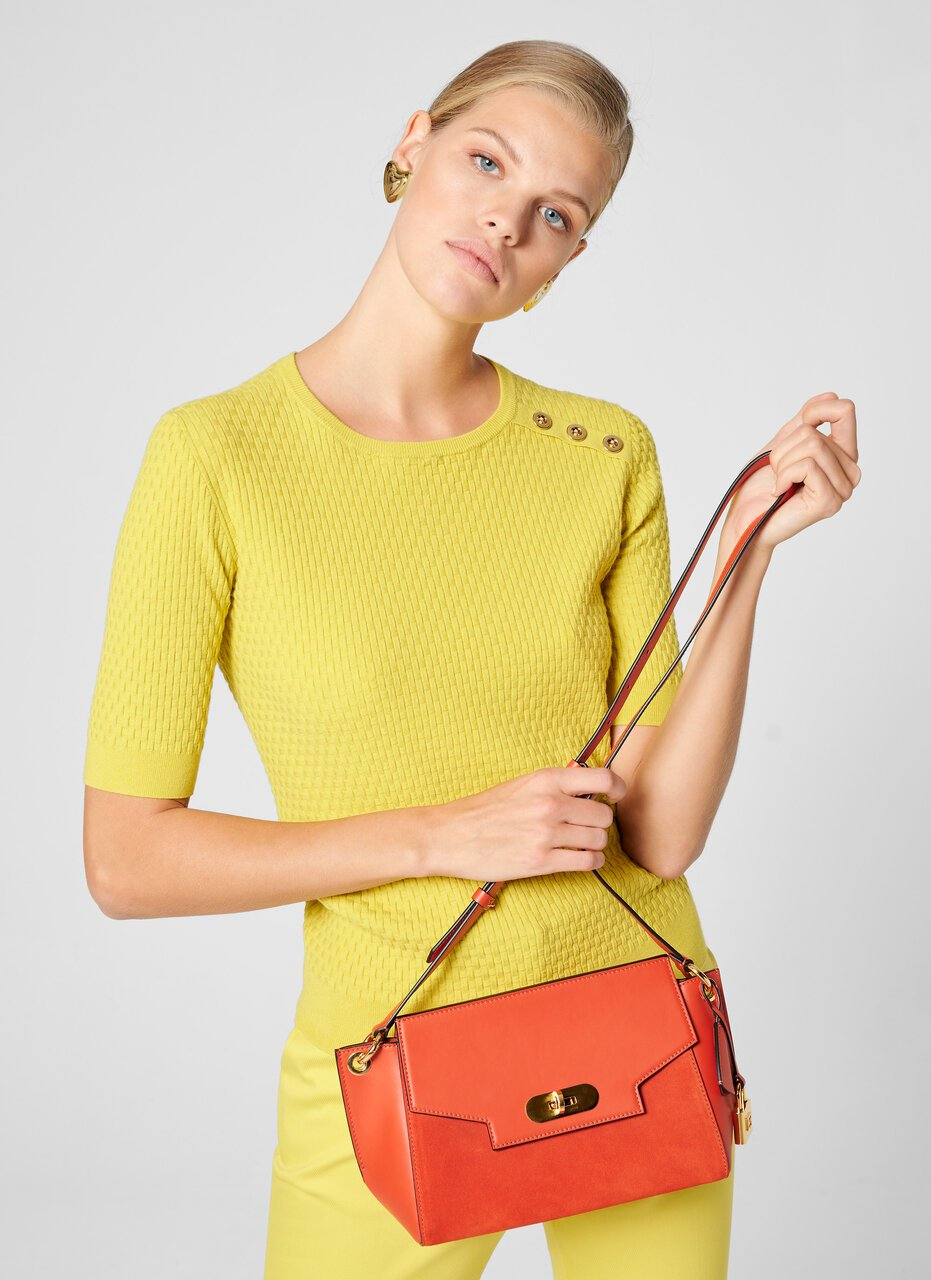 Leather and Suede Shoulder Bag - ESCADA