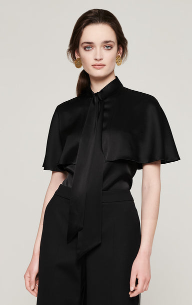 Satin Cape-Sleeve Blouse