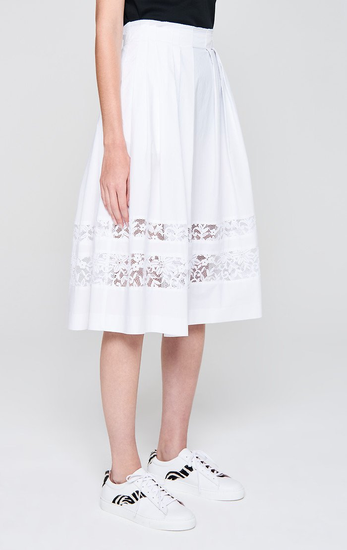 ESCADA Cotton Poplin and Lace Skirt