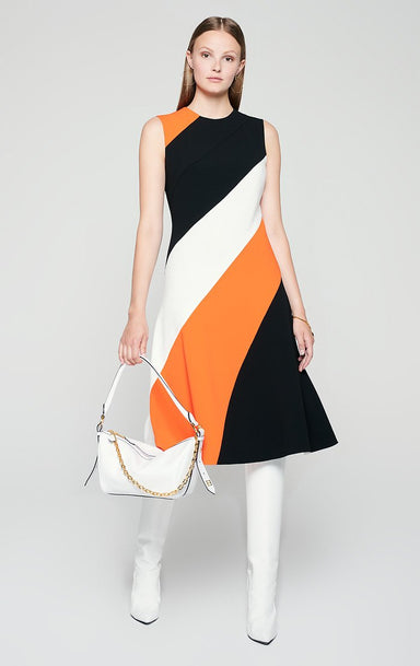 ESCADA Satin Crepe Paneled Dress