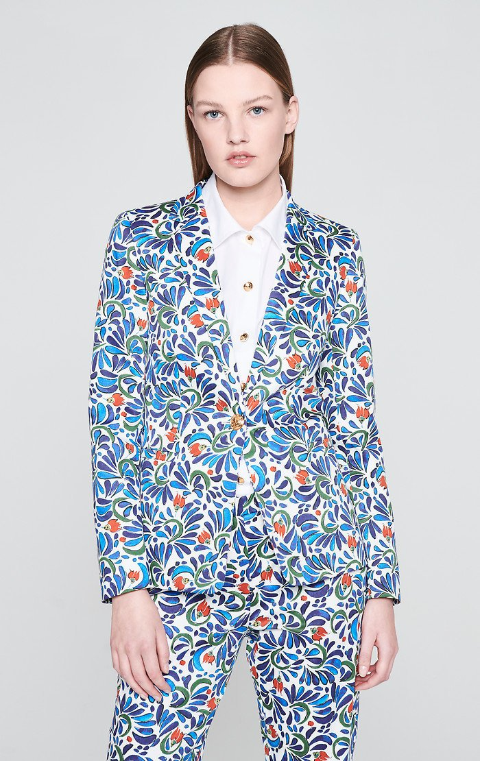 ESCADA Cotton Stretch Printed Blazer