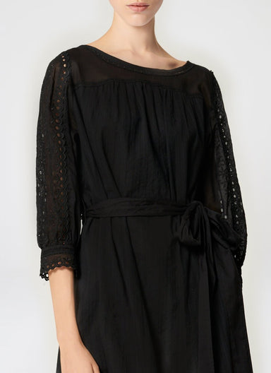 ESCADA Cotton Broderie Belted Dress