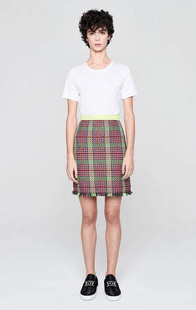 ESCADA Multicolor Check Tweed Skirt