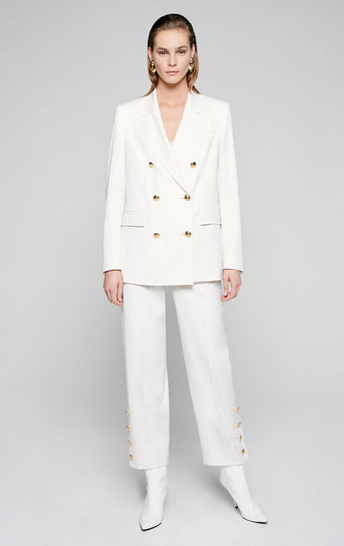 Wool Stretch Button-Detail Pants - ESCADA