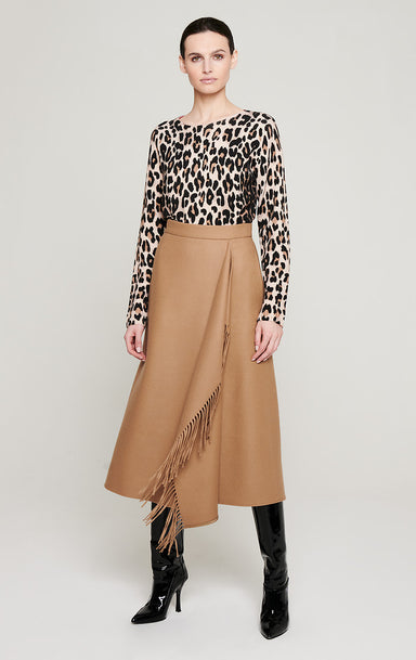 ESCADA Wool Fringed Midi Skirt