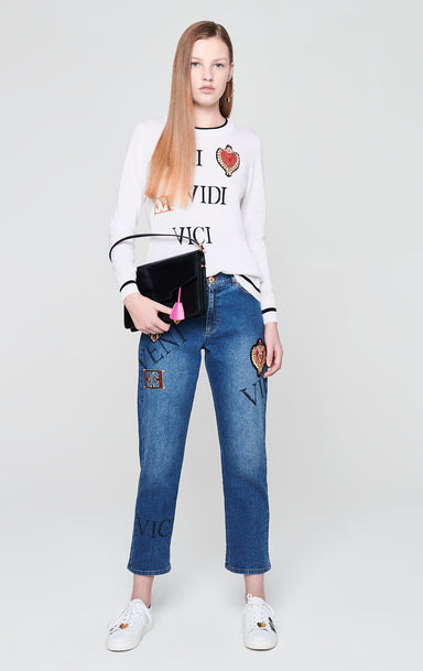 ESCADA Virgin Wool Heart Badge Sweater