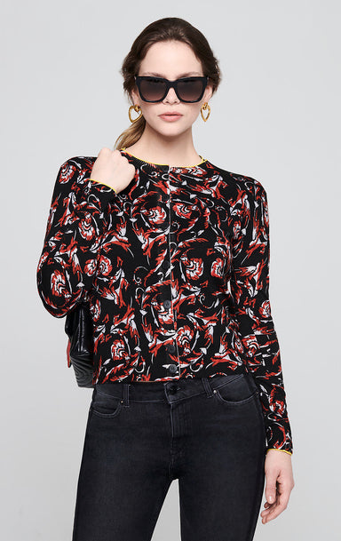 Embroidered Floral Print Cardigan - ESCADA