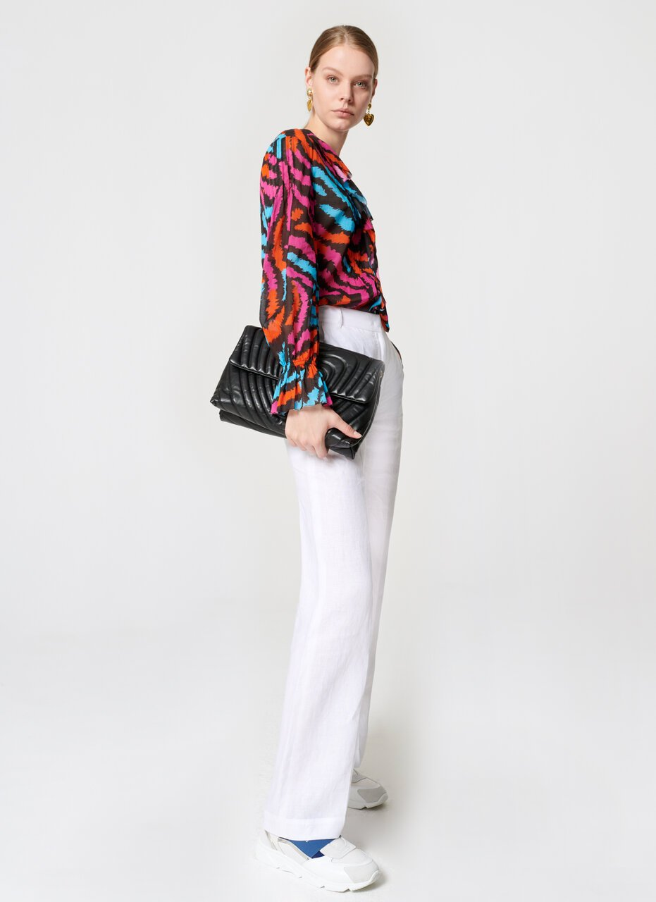 ESCADA Printed Cotton Ruffle Blouse