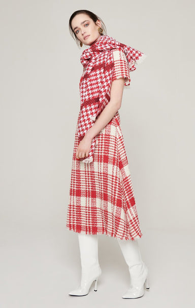 ESCADA Check Tweed Midi Dress
