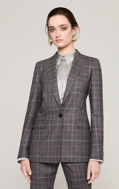 Wool Stretch Check Blazer - ESCADA